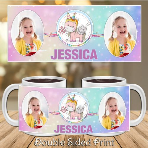 Personalised Rainbow Unicorn PHOTO Gift Mug N51 Birthday Christmas Gift - ANY  NAME